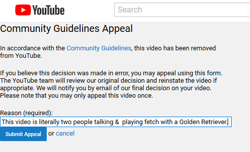 Youtube strike for inappropriate content